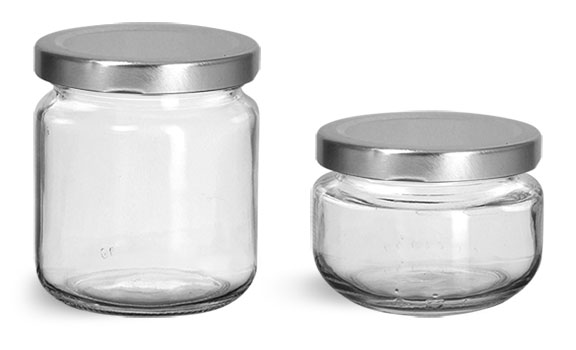 Clear Glass Jars, Clear Glass Wide Mouth Jars w/ Silver Metal Plastisol Lined Caps