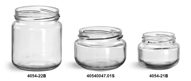 Glass Jars, Clear Glass Wide Mouth Jars (Bulk)