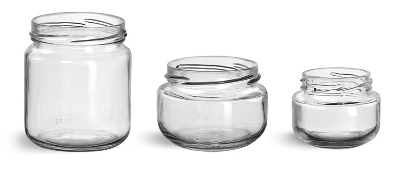 200 ml Glass Jars, Clear Glass Wide Mouth Jars