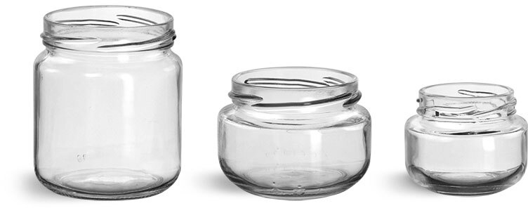 Glass Jars, Clear Glass Wide Mouth Jars
