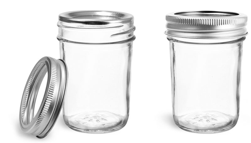 Clear Glass Jars, Clear Glass Jelly Jars w/ Silver Two Piece Canning Lids