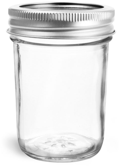 Glass Jars, Clear Glass Jelly Jars w/ Silver Two Piece Canning Lids