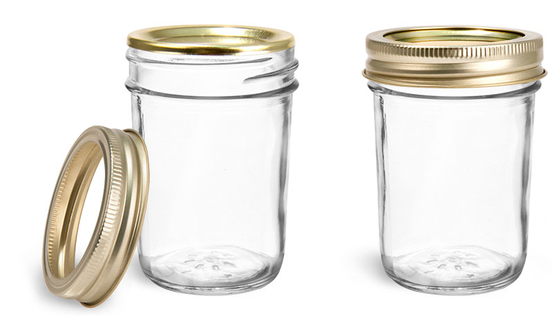 Clear Glass Jars, Clear Glass Jelly Jars w/ Gold Two Piece Canning Lids