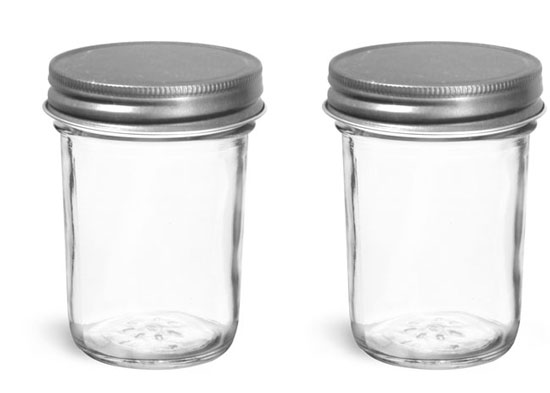Glass Jars, Clear Glass Jelly Jars w/ Unlined Antique Pewter Metal Caps
