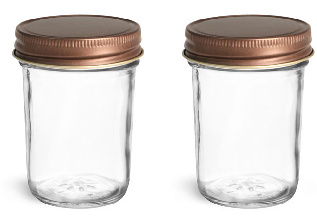 Clear Glass Jars, Clear Glass Jelly Jars w/ Unlined Rustic Bronze Metal Caps