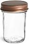 8 oz8 oz Glass Jars, Clear Glass Jelly Jars w/ Rustic Bronze Unlined Metal Caps