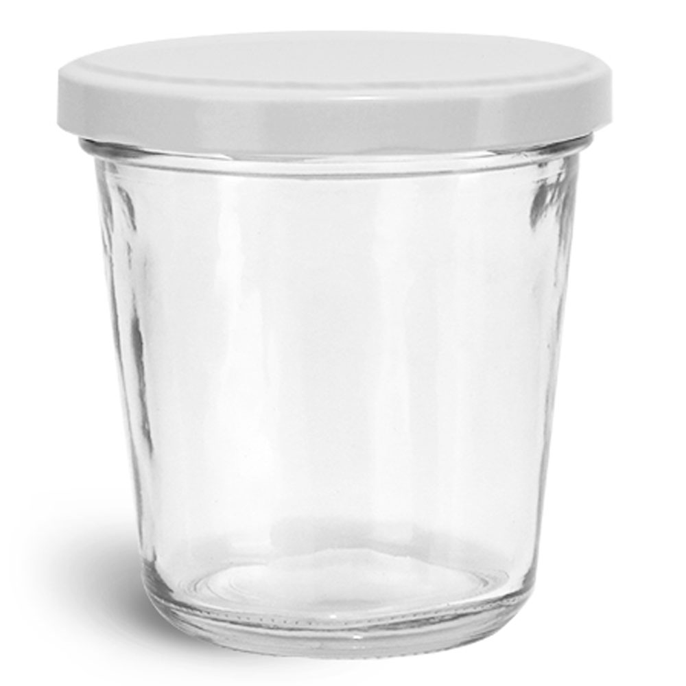 10 oz Clear Glass Jars, Clear Glass Tapered Wide Mouth Jars w/ White Metal Lug Caps