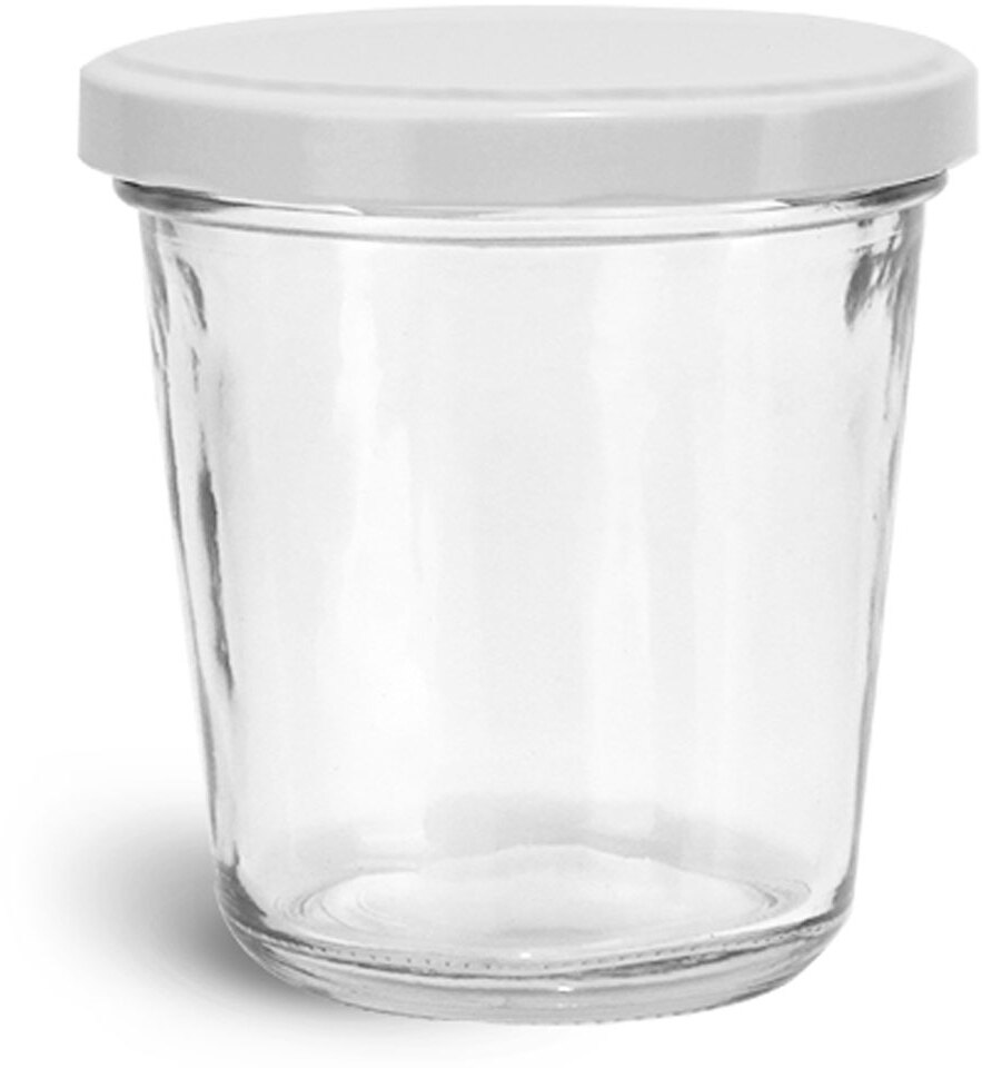 Clear Glass Jars, Clear Glass Tapered Wide Mouth Jars w/ White Metal Lug Caps