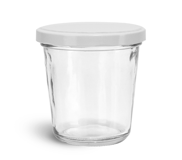 Clear Glass Jars, 10 oz Clear Glass Tapered Wide Mouth Jars w/ White Metal Lug Caps