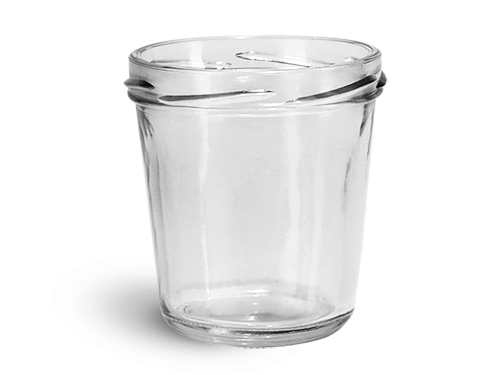 Clear Glass Jars, Clear Glass Tapered Wide Mouth Jars (Bulk), Caps NOT Included