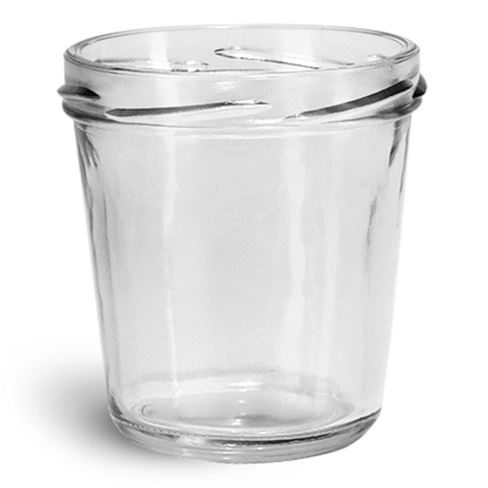 Glass Jars,  Clear Glass Tapered Wide Mouth Jars (Bulk), Caps NOT Included