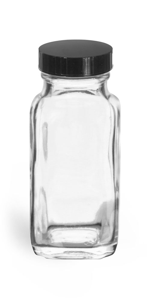 2 oz Clear Glass French Square Bottles w/ Black Phenolic Cone Lined Caps