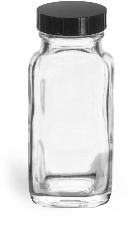 Clear Glass French Square Bottles w/ Black Phenolic Cone Lined Caps