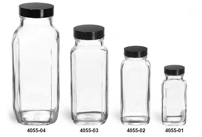 Glass Bottles, Clear Glass French Square Bottles w/ Black Phenolic Cone Lined Caps