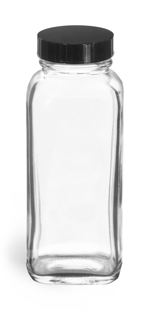 4 oz Clear Glass French Square Bottles w/ Black Phenolic Cone Lined Caps