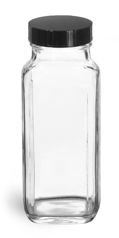8 oz * Clear Glass French Square Bottles w/ Black Phenolic Cone Lined Caps