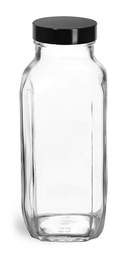 16 oz * Clear Glass French Square Bottles w/ Black Phenolic Cone Lined Caps