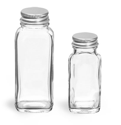 Glass Bottles, Clear French Square Glass Bottles w/ Lined Aluminum Caps
