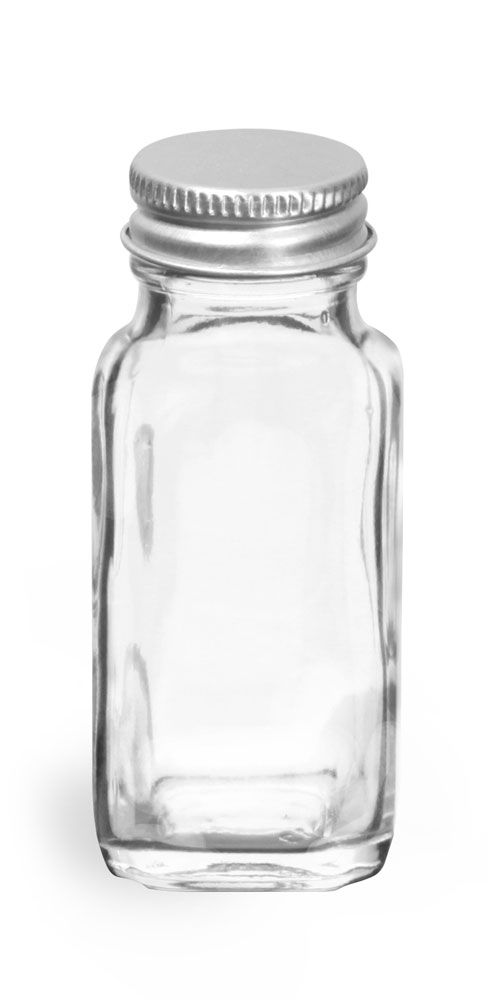 2 oz           Clear Glass French Square Bottles w/ Lined Aluminum Caps