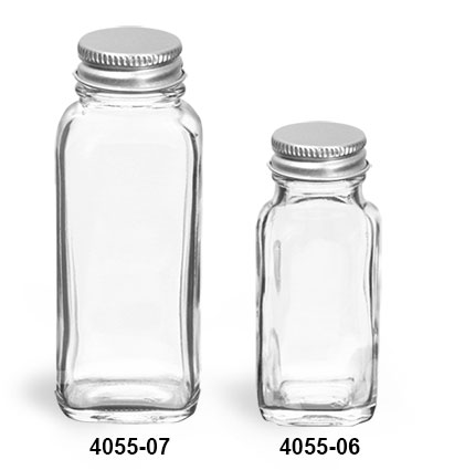 Glass Bottles, Clear Glass French Square Bottles with Lined Aluminum Caps