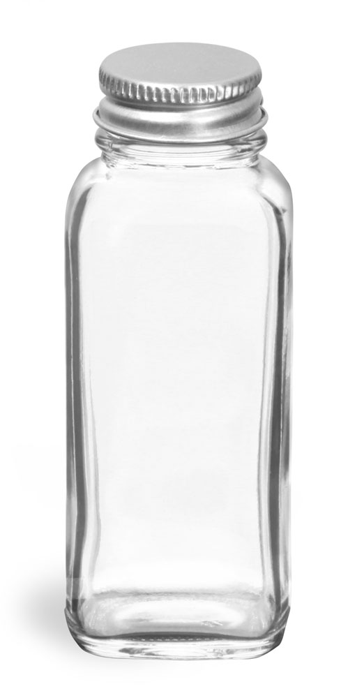 Clear Glass French Square Bottles w/ Lined Aluminum Caps