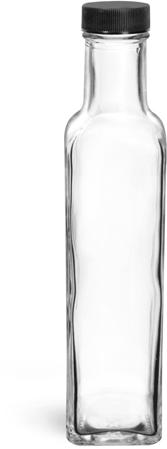 Clear Glass Marasca Square Bottles w/ Black Ribbed Lined Caps