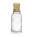 Clear Glass French Square Bottles w/ Cork Stoppers