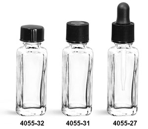Glass Bottles, 1/4 oz Clear Perfume Sample Square Glass Bottles w/ Caps