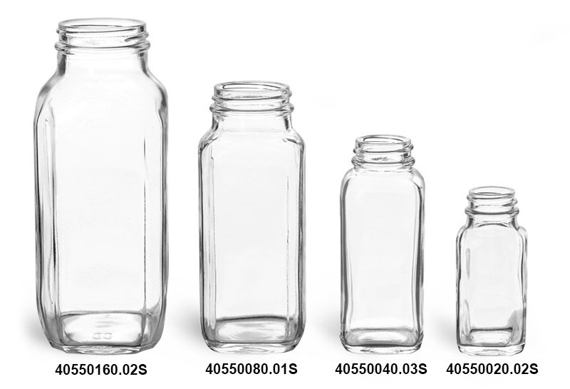 Clear Glass French Square Bottles (Bulk), Caps NOT Included