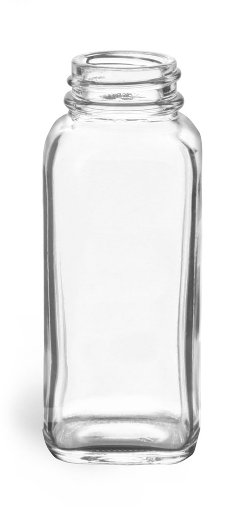 4 oz Clear Glass French Square Bottles (Bulk), Caps NOT Included