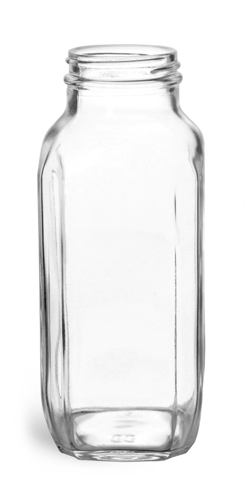 16 oz Clear Glass French Square Bottles (Bulk), Caps NOT Included