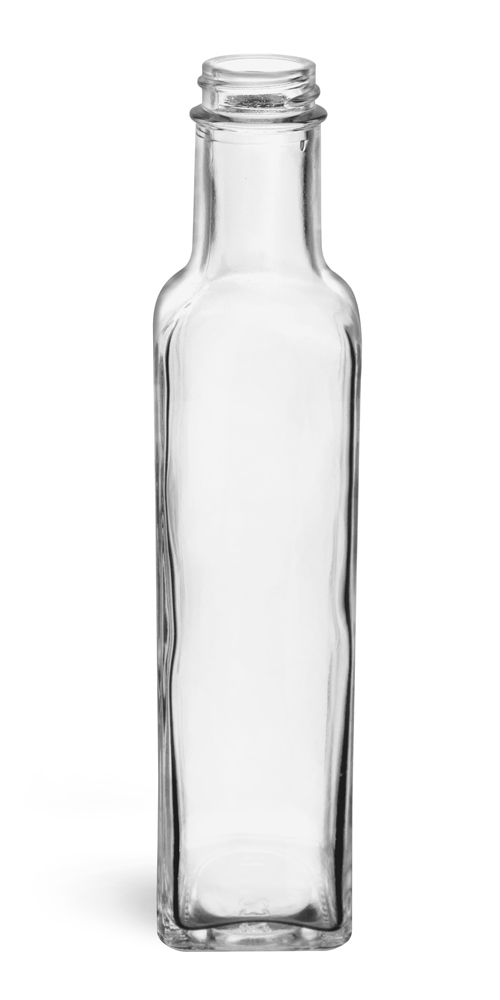 250 ml Clear Glass Square Bottles (Bulk), Caps NOT Included