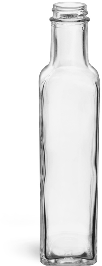 Clear Glass Square Bottles (Bulk), Caps NOT Included