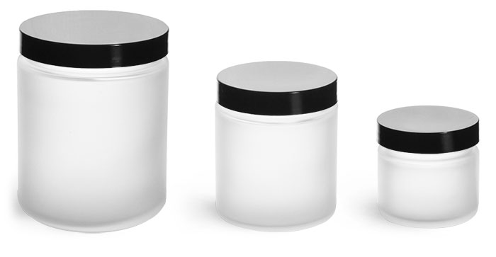 Glass Jars, Frosted Glass Jars w/ Smooth Black Lined Caps