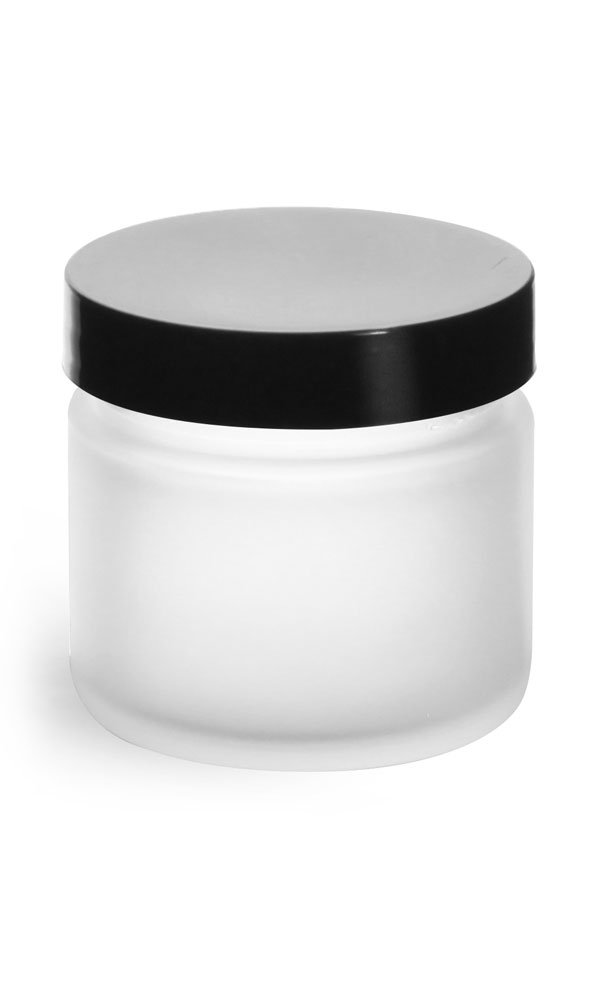 2 oz Frosted Glass Straight Sided Jars w/ Smooth Black Lined Caps