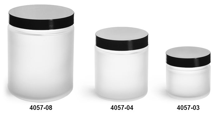 Glass Jars, Frosted Glass Straight Sided Jars w/ Smooth Black Lined Caps