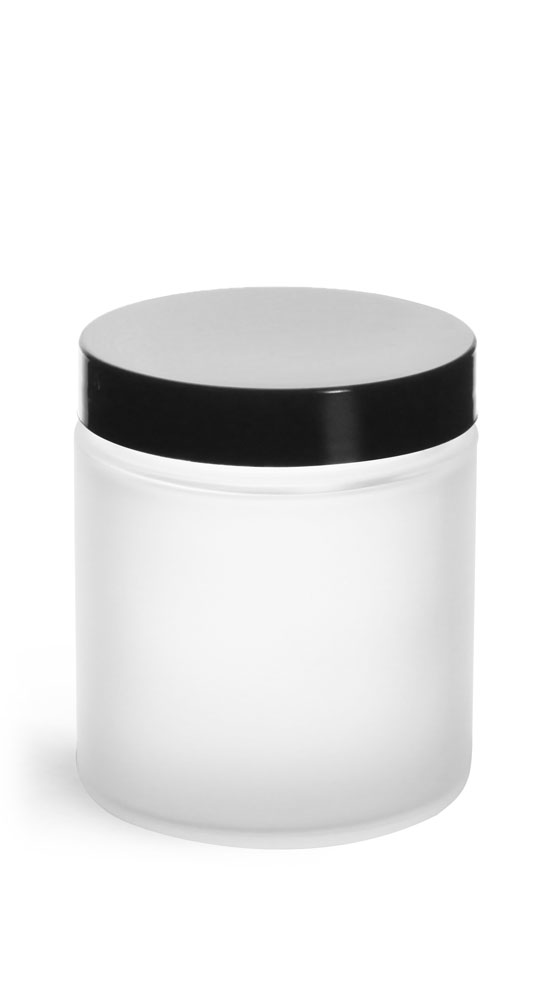 4 oz Frosted Glass Straight Sided Jars w/ Smooth Black Lined Caps