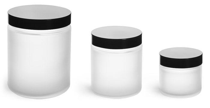 Glass Jars, Frosted Glass Jars w/ Black Phenolic Caps