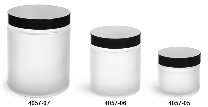 Glass Jars, Frosted Glass Straight Sided Jars w/ Black Phenolic Lined Caps