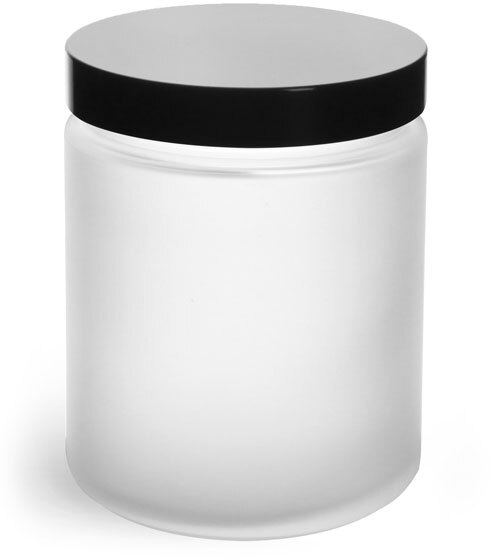 Frosted Glass Straight Sided Jars w/ Black Phenolic Caps