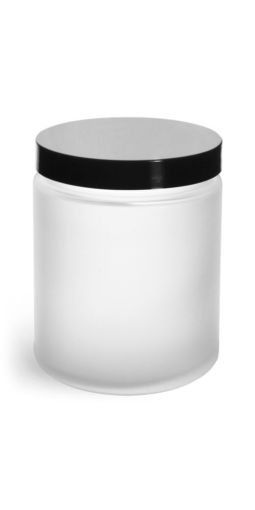 8 oz Frosted Glass Straight Sided Jars w/ Smooth Black Lined Caps
