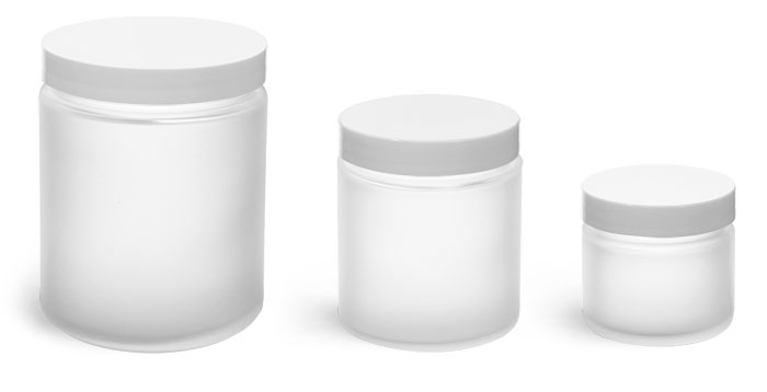 Glass Jars, Frosted Glass Jars w/ White Lined Caps