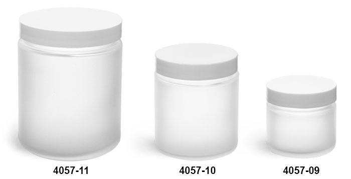 Glass Jars, Frosted Glass Straight Sided Jars w/ Smooth White Lined Caps