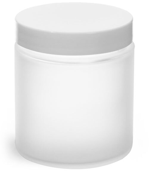 Frosted Glass Straight Sided Jars w/ White Lined Caps