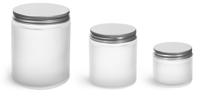Glass Jars, Frosted Glass Jars w/ Lined Aluminum Caps