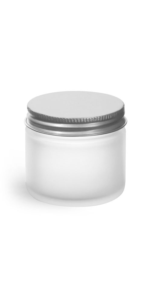 2 oz Frosted Glass Straight Sided Jars w/ Lined Aluminum Caps