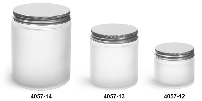 Glass Jars, Frosted Glass Straight Sided Jars w/ Lined Aluminum Caps