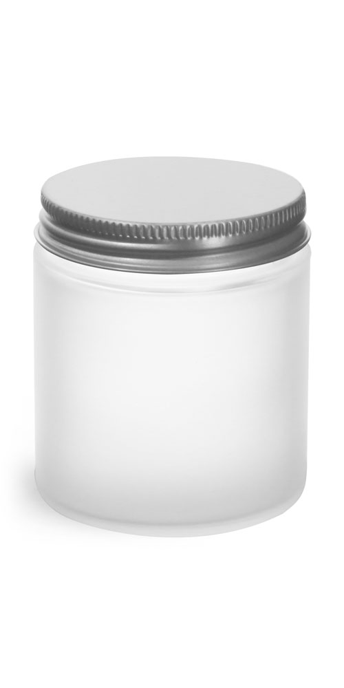 Frosted Glass Straight Sided Jars w/ Lined Aluminum Caps