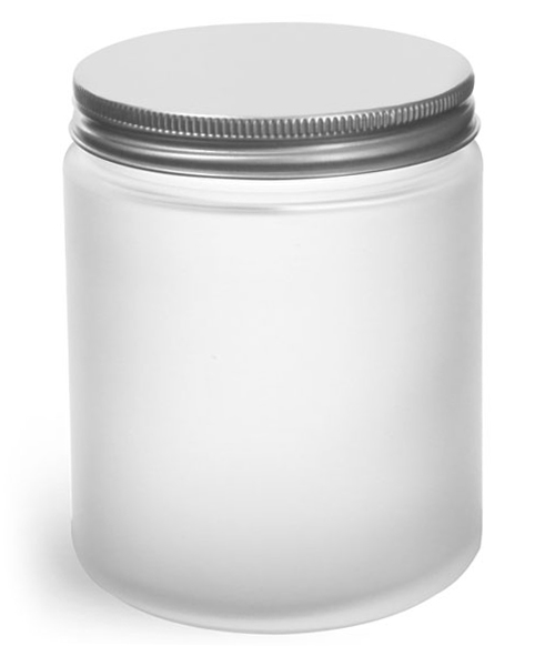 8 oz Frosted Glass Straight Sided Jars w/ Lined Aluminum Caps