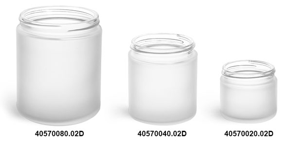 Frosted Glass Straight Sided Jars (Bulk), Caps Not Included